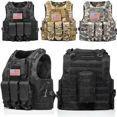 Military Tactical Vest w/Flag Patch Molle Combat Assault Plate Carrier Holder US