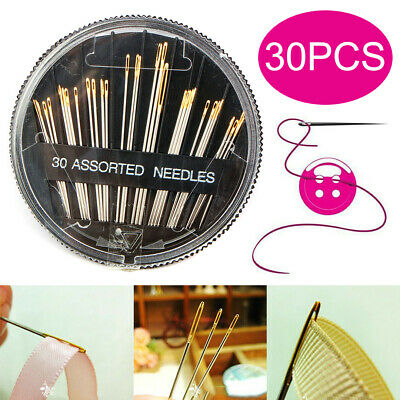 30Pcs Hand Sewing Self-Threading Assorted Embroidery Mending Craft Quilt Sew ja