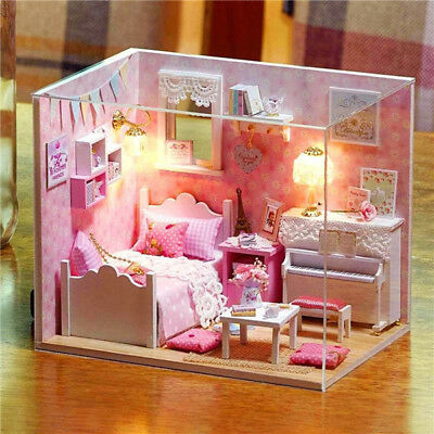 DIY Handcraft Miniature Project Dolls House My Little Angels Pink Piano Bedroom