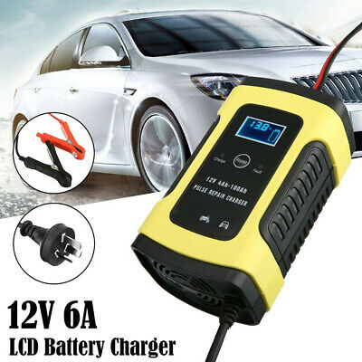Motorcycle Car Smart Battery Charger LCD Digital 12V 6A 6-stage Trickle Kits