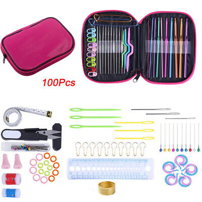 JOZEA Crochet Hooks Set 100pcs Knitting Tool Accessories with Pink Case