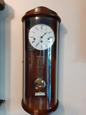 Beautiful Vintage Franz Hermle 8 Day Mahogany & Glass Westminster Wall Clock
