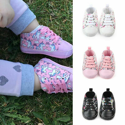 Newborn Baby Girls Unicorn First Walkers Shoes Soft Sole Casual Sneaker Trainers