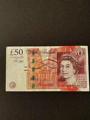 Cleland £50 Ak01 First Prefix Used Condition