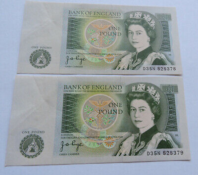 Two Uncirculated One Pound Notes £1 Consecutive Numbers D35N 828378/79