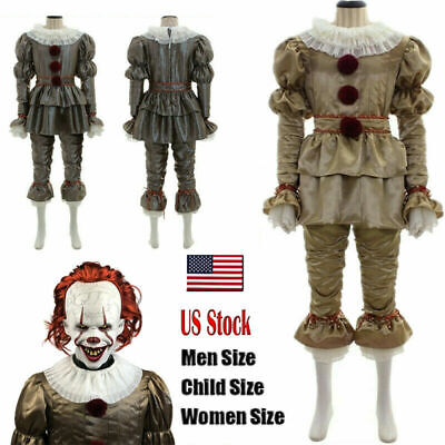 Movie It: Chapter Two Pennywise Cosplay Costume Clown Halloween Gloves Mask