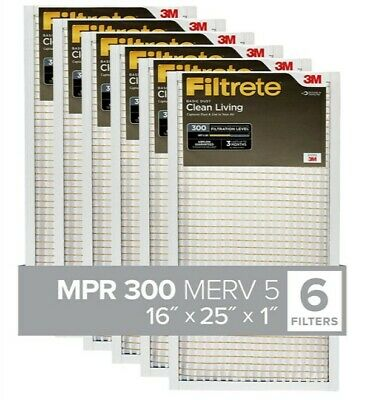 6 Pack Filtrete AC Furnace Air Filter, MPR 300, Clean Basic Dust,16x25x1 inches