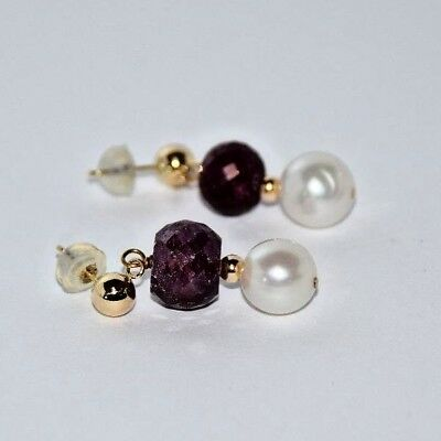 Ruby and Pearl 14K Yellow Gold Ladies Earrings