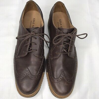 Cole Haan Grand.os Brown Wing Tip Oxford Leather Sz 9.5