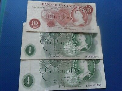 3  Banknotes.bank Of England.10 Shillings And Pound Notes.used.