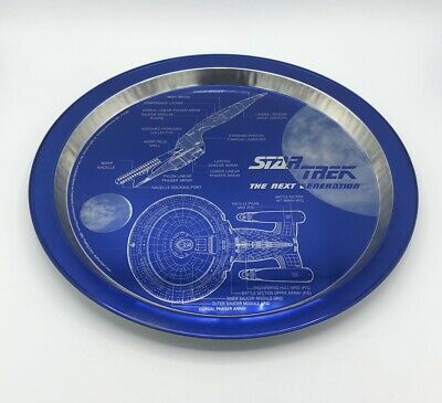 Star Trek The Next Generation 1996 Tin Plate Blue Silver EUC