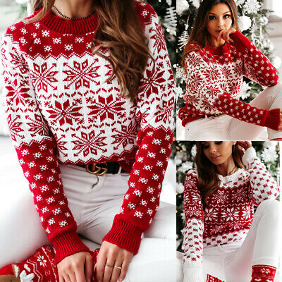 Hotkey Christmas Sweatshirt for Women Long Sleeve Round Neck Pullover Snowman Snowflake Print Casual Loose Jumper Tops Blouse