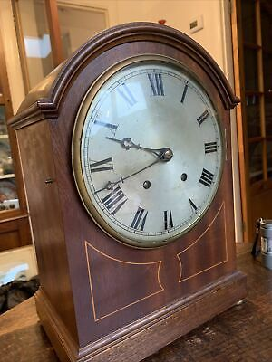 Old Good Quality Inlaid Mahogany Mantle Bracket Ting Tang Quarter Chiming Clock