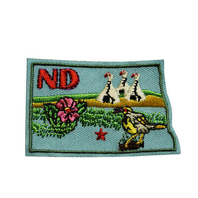 Travel Souvenir Applique P3-G State North Dakota Embroidered Iron On Patch