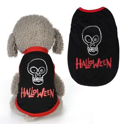 Polyester Skull Printing Cool Costume Pet Halloween Funny Vest Clothing