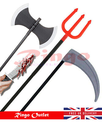 Scythe Fancy Dress Party Accessory Halloween Horror Weapons Axe Trident