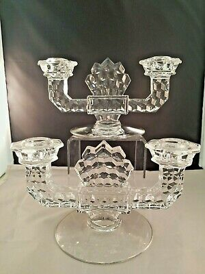 Fostoria American Clear Double Candlestick PERFECT!