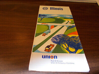 1968 Pure Oil Illinois Vintage Road Map
