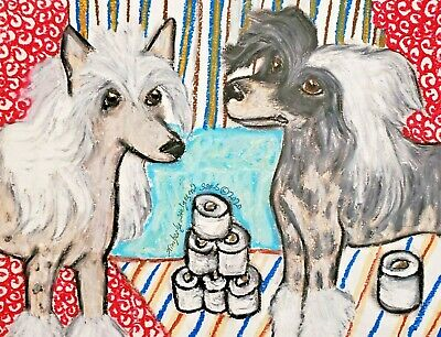 Dog Art Print 5 x 7 Chinese Crested Hoarding Toilet Paper by KSams