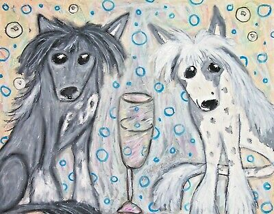 Dog Art Print 5 x 7 Chinese Crested celebrating with champagne by artist KSams