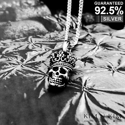 925 Sterling Silver 3D King Skull Pendant Necklace ✔️Gothic ✔️Solid ✔️Quality
