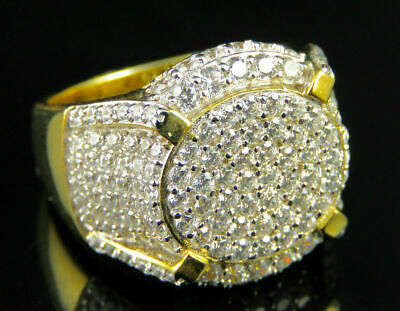 14K Yellow Gold Over Sterling Silver 2.5 ct Round Sim Diamond Men/'s Lion Head Cluster Ring