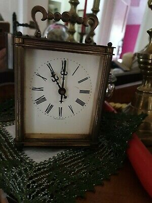 Smiths Vintage Carriage Mantle Clock brass heavy made great Britain