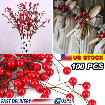100Pcs Christmas Xmas Red Berry Pick Holly Branch Wreath Craft Decoration y6