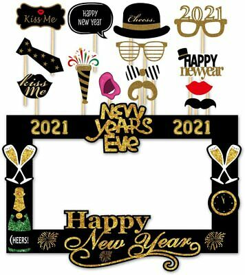 36 pieces Losuya 2021 Happy New Year Photo Booth Props Funny DIY Kit 2021 New Years Eve Party Decorations