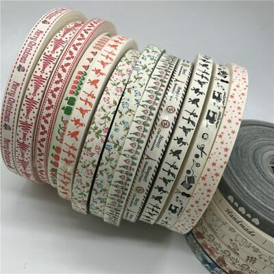 5 Yards//Lot Hooked With Love Printed Cotton Ribbons DIY Sewing Label Tags S1
