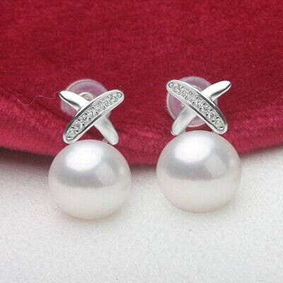 925 sterling silver 9-10mm freshwater pearl shiny CZ prince stud earrings white