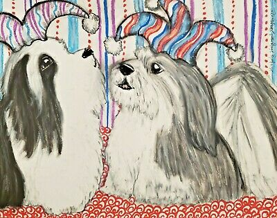 Havanese Jesters ACEO Dog Art Print Signed by Artist KSams 2.5 x 3.5