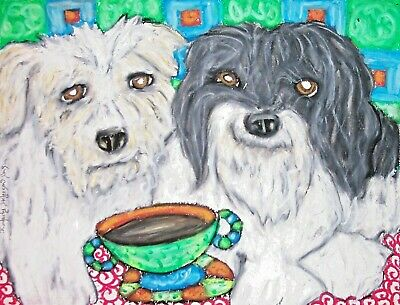 Havanese drinking Coffee 11x14 Dog Art Giclee Print Signed by Artist KSams