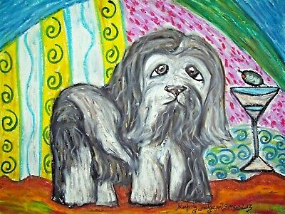 Havanese Martini Dog Art Print Signed by Artist Kimberly Helgeson Sams 4x6