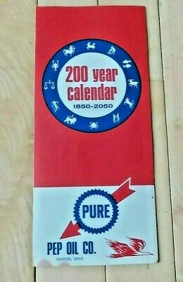 Vintage PURE OIL 200 YEAR MAP CALENDER - PEP Oil Company, Canton, OH - Very Good