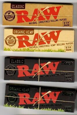 RAW Rolling Papers COMPLETE 1 1/4 Size COLLECTION Classic and Organic Hemp Black
