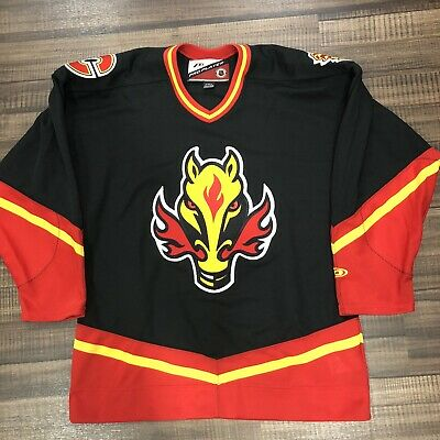 Ccm Calgary Flames Blasty Jersey Flaming Horse Head 1998 2005 Nhl Seasons 14 156 83 Picclick