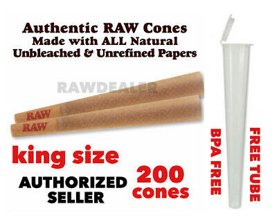 RAW Classic king Size Pre-Rolled Cone W tip(200 Pack)AUTHENTIC +BPA free tube