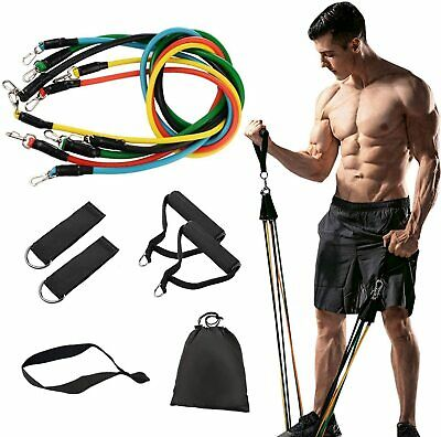 UK 11PCS Resistance Bands Set Pull Rope Home Gym Equipment Yoga Fitness Exercise