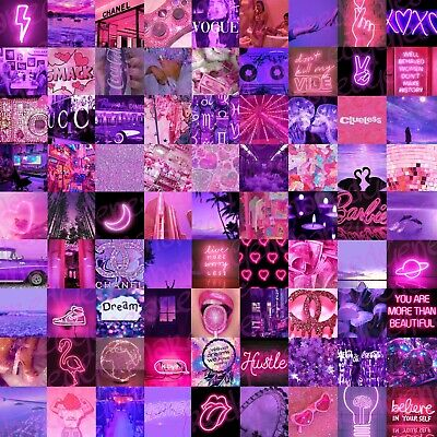 Printed Wall Collage Kit No Angel Pink Purple Room Decor 60 Images Aesthetic 28 00 Picclick