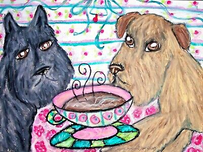 BOUVIER DES FLANDRES drinking Coffee dog art card ACEO animals impressionism