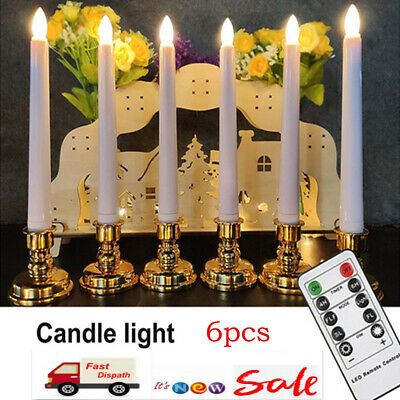 6Pcs LED Flameless Taper Flickering Candles Lights Battery Operated Party Date