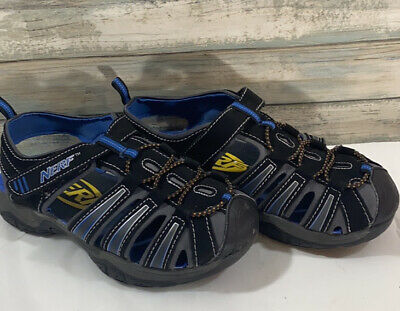 NERF WATER BOY BOYS SHOES SANDALS BLACK BLUE YELLOW STRETCHY SZ 13 1 2 3 WOW