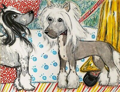 ACEO Chinese Crested Dog Art Print Card 2.5 x 3.5 Artist KSams