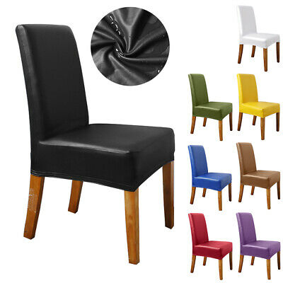 Dining Chair Covers Waterproof Pu Leather Slipcovers Party Wedding Banquet Decor 8 48 Picclick Uk