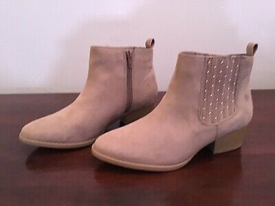 116367 Womens LC Lauren Conrad Statice Taupe Cutout Ankle Boots 420D