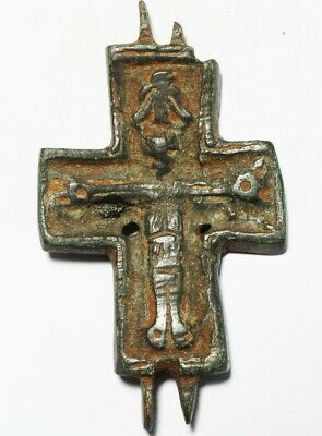 ZURQIEH -as19281- ANCIENT BYZANTINE LARGE BRONZE CROSS. 800 - 1000 A.D