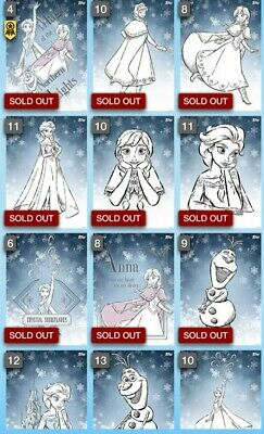 Frozen 2 Premiere Woodcuts Rare set with award DIGITAL Topps Disney Collect