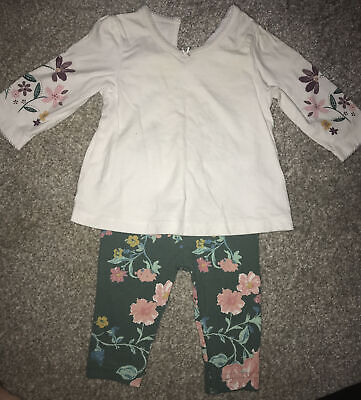 New Nutm*g Baby Girls Cordrouy Bunny Bear Dungarees Set 3-6 Months