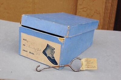 Hopkins Antique Button Baby Shoe Box Only & Metal Button Hook ID'ed Zola Partin